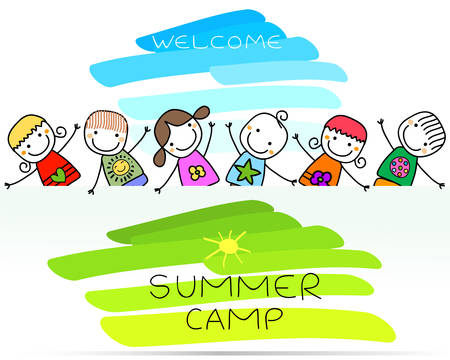 summer camp poster with happy kids