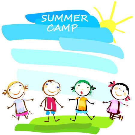 幸せな子供と夏キャンプ ポスター