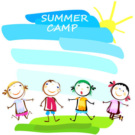 campamento: cartel campamento de verano con niños felices
