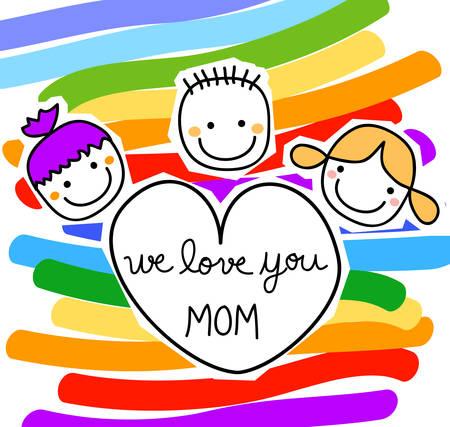 familia animada: niños felices con mensaje para el día de madres Vectores