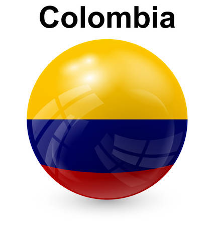 colombia official flag, button ball Illustration