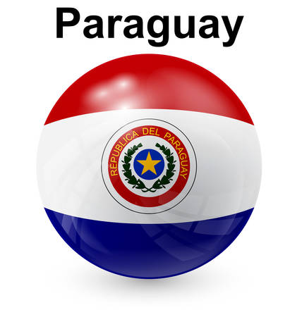 paraguay: paraguay official flag, button ball