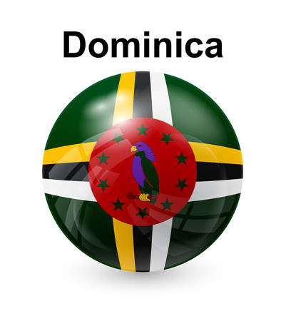 dominica official state button ball flag Illustration
