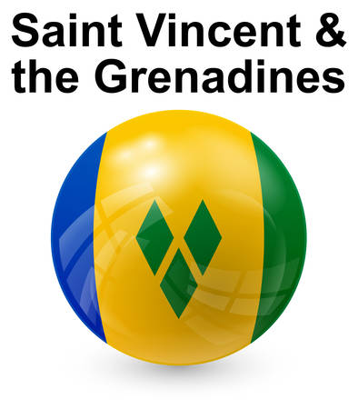 saint vincent and the grenadines official state button ball flag Illustration
