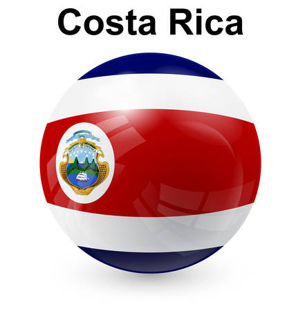 costa rica official flag, button ball