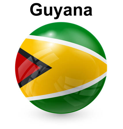guyana: guyana official flag, button ball Illustration