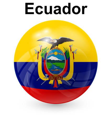 ecuador: ecuador official flag, button ball