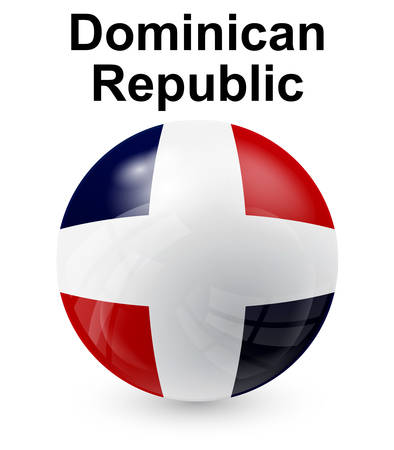 dominican republic official state button ball flag Illustration