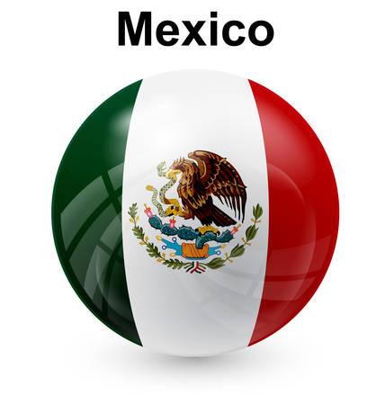 flag button: mexico official flag, button ball Illustration