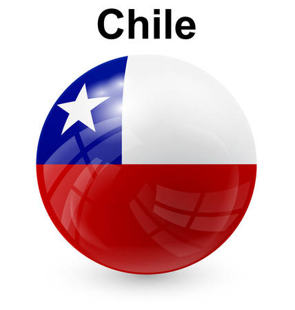 chile official flag, button ball Illustration