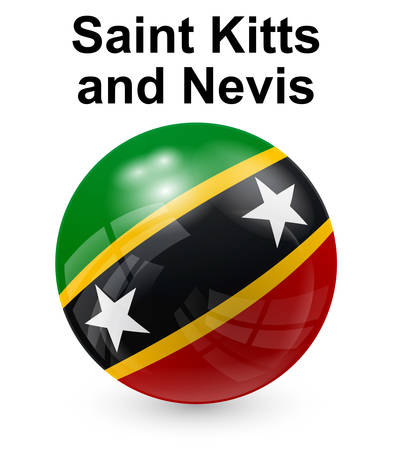 saint kitts and nevis official state button ball flag Illustration