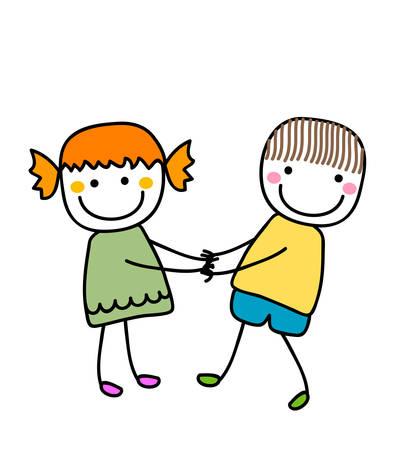 girl and boy holding hands Illustration
