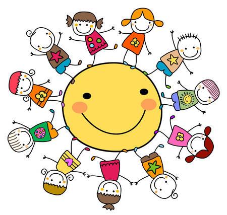 niños jugando caricatura: niños felices jugando alrededor del sol