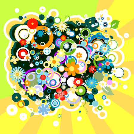 abstract colorful background with flowers and circles Illustration