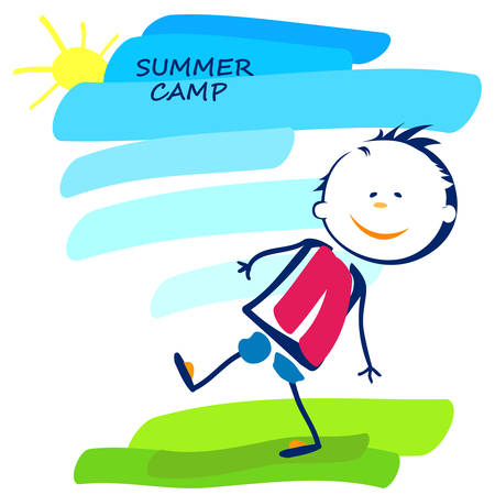 summer camp poster with happy little boy