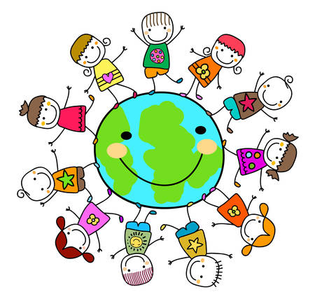 child studying: happy kids playing around the earth planet