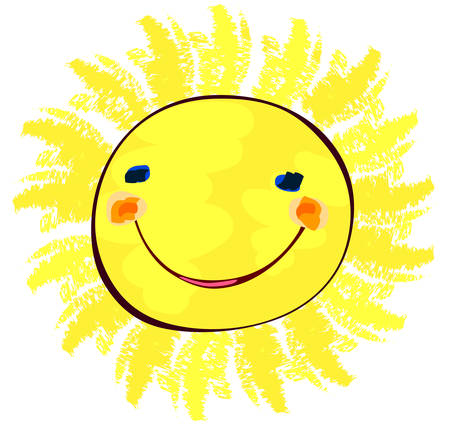 kids fun: happy sun on white, childlike painting