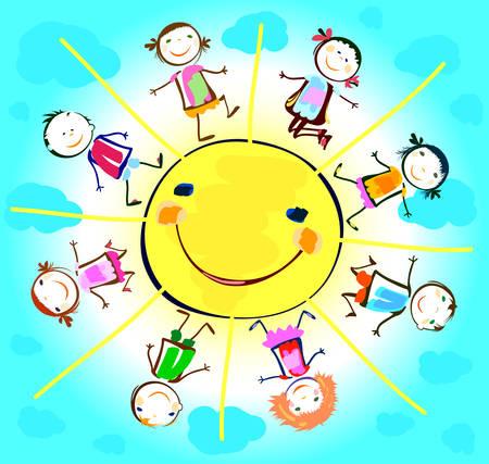 niños: niños felices jugando alrededor del sol