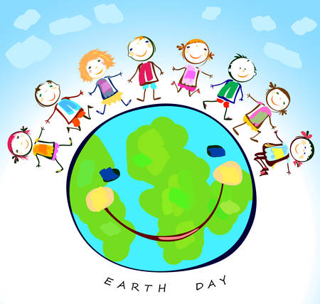 children studying: happy kids playing around the earth planet