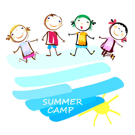 painting and stylized: summer camp poster with happy kids