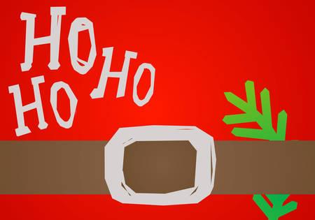 ho: christmas card HO HO HO, Santa belt and green branch