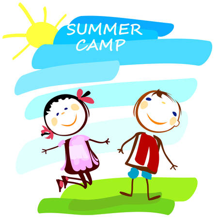 campamento: cartel de campamento de verano con el muchacho y la muchacha felices Vectores