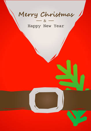 christmas tree branch: christmas card with Santa belt Illustration
