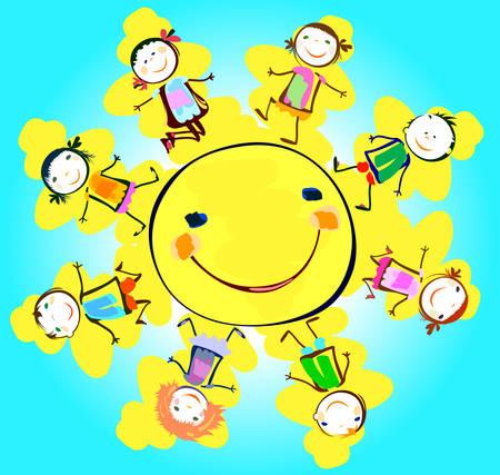 happy children: happy kids playing around the sun