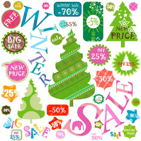 winter sales: winter sales, various shapes and colors Illustration