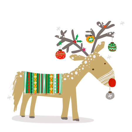 kids background: christmas reindeer with decoration Illustration