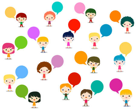 group of people: kids talking Illustration