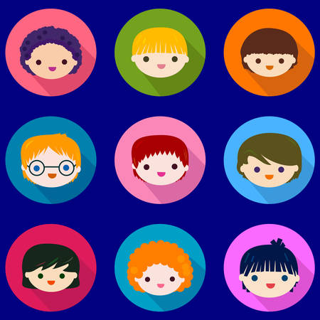 eye glasses: happy kids faces set
