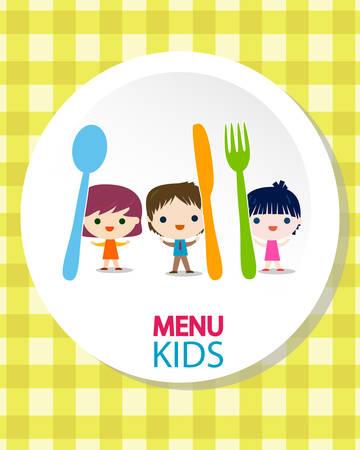 niña comiendo: menú infantil de ilustración de fondo Vectores
