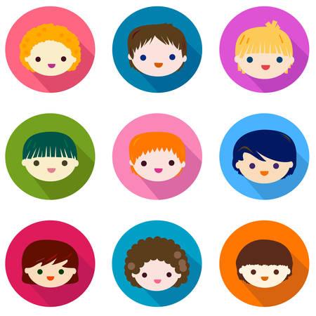 nice girl: happy kids faces set