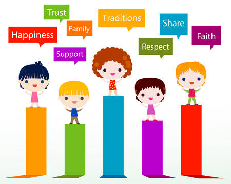 enfants heureux valeurs infographiques Vecteurs