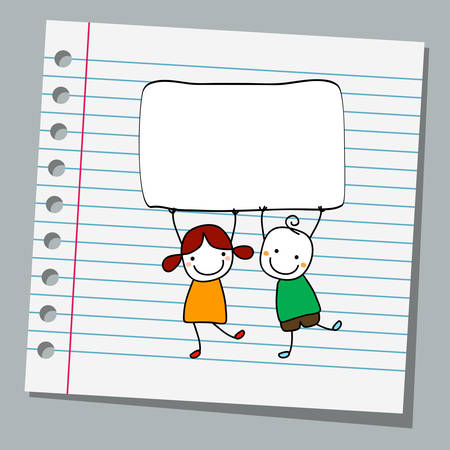 nice girl: notebook paper happy kids with banner