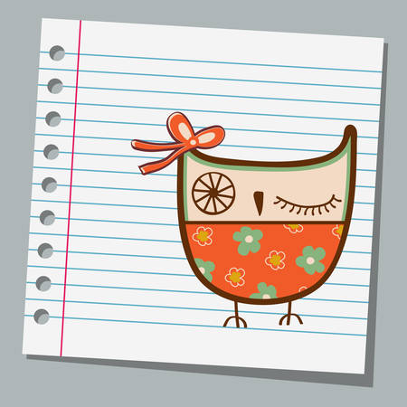 notebook paper: notebook paper cute owl Illustration