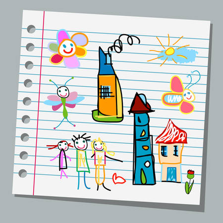 house drawing: notebook paper child drawings
