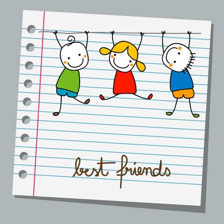 carta notebook bambini felici che giocano
