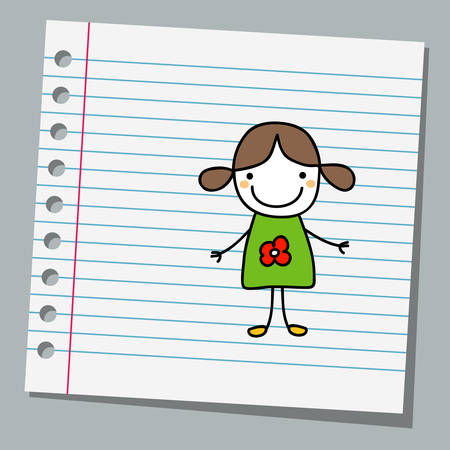 notebook paper: notebook paper with little girl