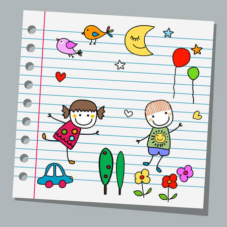 notebook page: notebook paper happy summer day