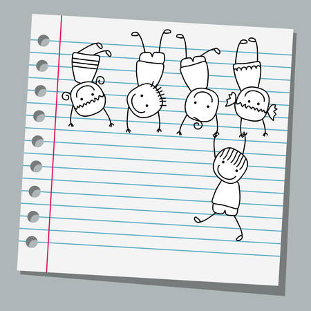 happy kids playing: notebook paper happy kids playing
