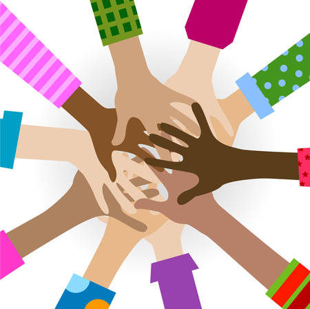 hands diverse togetherness background Ilustrace