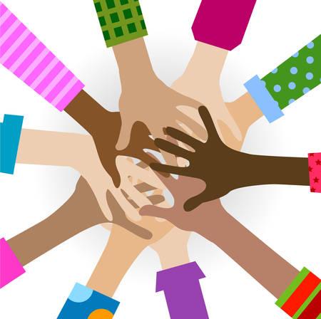 hands diverse togetherness background Vettoriali