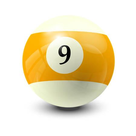 billiard ball 9- realistic vector design Illustration