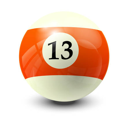 13: billiard ball 13- realistic vector design