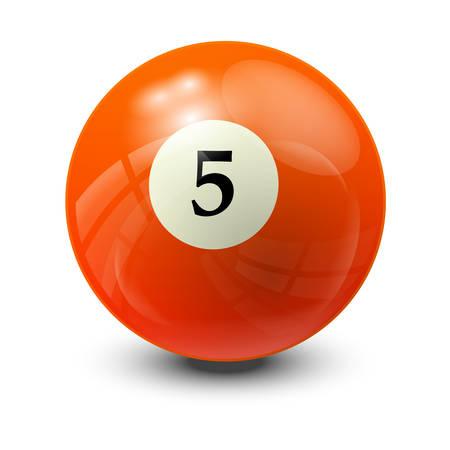 billiard ball: billiard ball 5- realistic vector design