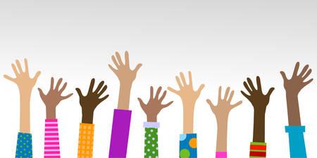 hands diverse togetherness background Illustration