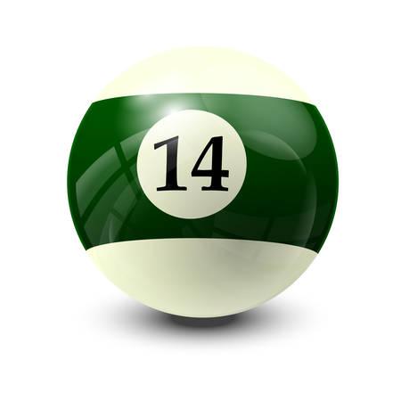 14: billiard ball 14- realistic vector design Illustration