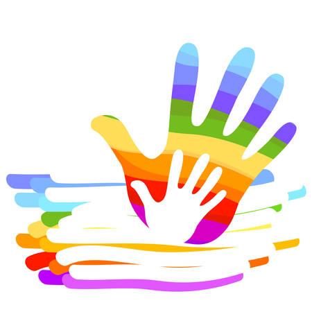 oneness: hand rainbow colorful illustration background Illustration
